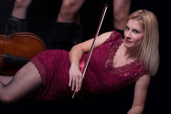 Blond woman and cello (cellist) Royalty Free Stock Photo