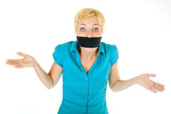 Blond woman censored Stock Photography