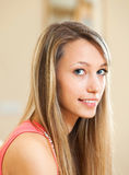 Blond woman with charming smile Royalty Free Stock Image