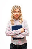 Blond woman in checked shirt Royalty Free Stock Photos