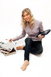 Blond woman in checked shirt with books Royalty Free Stock Image