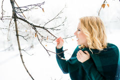 Blond woman in checked sweater outside in winter nature Stock Photography