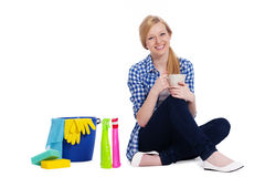 Blond woman with cleaning stuff Stock Photo