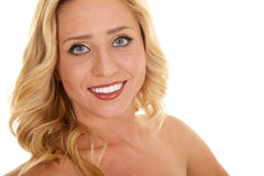 Blond woman close smiling wide Stock Images