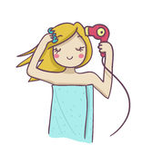 A blond woman combing and drying her blond hair wi. Th hairdryer. Funny cartoon illustration Stock Photography