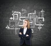 Blond woman with crossed arms near a chalkboard with arrows Stock Images