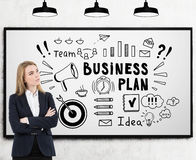 Blond woman with crossed hands and a business plan sketch Stock Photography