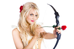 Blond woman with cupid bow Royalty Free Stock Images