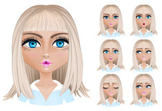 Blond woman with different facial expressions. Set woman with different facial expressions. Blond woman emoji character with different expressions. Vector Royalty Free Stock Photos