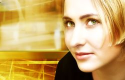 Blond woman on digital movement background. Face of a woman on digitally collaged industrial background of movement, light, colors and blurs Stock Photography