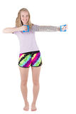 Blond woman doing exercises with expander Stock Photography