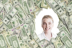 Blond woman in a dollar frame Royalty Free Stock Photos