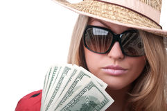 Blond woman with dollars Royalty Free Stock Image