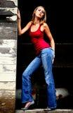 Blond Woman in doorway Stock Image