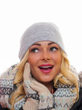 Blond woman dressed for winter stock images