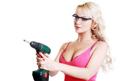 Blond woman with drill Royalty Free Stock Photo