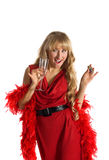 Blond woman with drink and color poison Stock Image