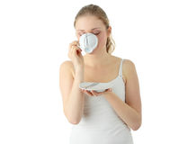 Blond woman drinking coffee Royalty Free Stock Image