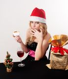 Blond woman eating cake Royalty Free Stock Photo
