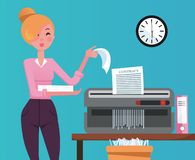 Blond Woman employee shredding the pile of paper documents in small table shedder. The shredded paper enters the recycle bin. Flat royalty free illustration