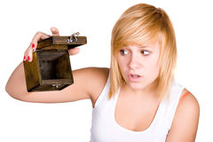 Blond woman with empty wooden box Royalty Free Stock Photo