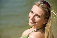 Blond woman enjoy summer sun Royalty Free Stock Photography