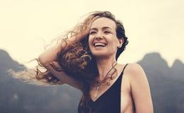 Blond woman enjoying the summer breeze royalty free stock image
