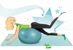 Blond woman excercising. With a pilates ball. To see similar, please visit my gallery Royalty Free Stock Photography
