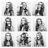 Blond woman face expressions composite Stock Images