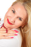 Blond woman face with nails Royalty Free Stock Photography