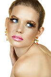 Blond woman with fake eyelashes Royalty Free Stock Images