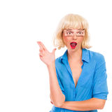 Blond woman with fake eyes showing finger gun. Stock Photography