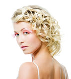 Blond woman with fashion makeup Stock Image