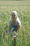 Blond woman in field Stock Photos