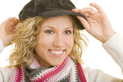 Blond woman in flat cap Royalty Free Stock Photo