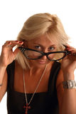 Blond woman in funny big glasses. Isolated on white Royalty Free Stock Photos