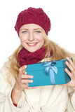 Blond woman get a gift Royalty Free Stock Photography
