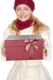 blond woman get a gift for christmas Stock Photo