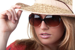 Blond woman in glasses Stock Image
