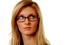 Blond woman with Glasses Royalty Free Stock Photography