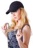 Blond woman with handcuffs Stock Image