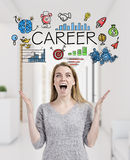 Blond woman happy about her career choice Stock Image
