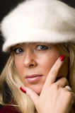Blond woman head shot with fashion hat Royalty Free Stock Photography