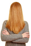 Blond woman with her hair over her face Royalty Free Stock Image