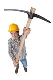 Blond woman holding ax Stock Photography