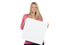 Blond woman holding a blank ad Stock Photos