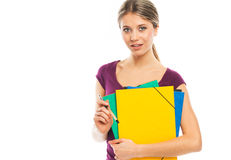 Blond woman holding folders Stock Photography