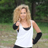 Blond woman is jogging Royalty Free Stock Photo