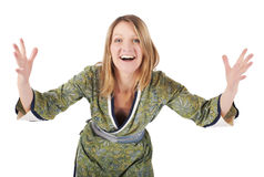 Blond woman in a kimono is smiling Royalty Free Stock Photography