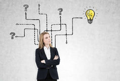 Blond woman and light bulb with arrows Royalty Free Stock Photos